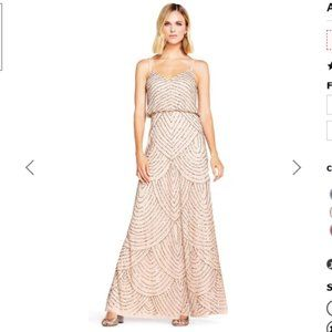 Adrianna Papell taupe silver beaded long dress